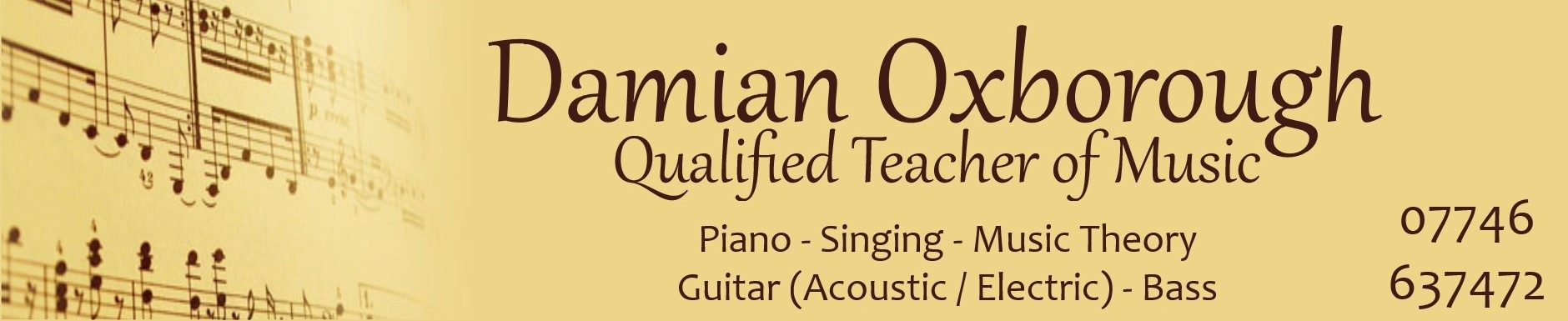 Damian Oxborough: Skipton Teacher of Music